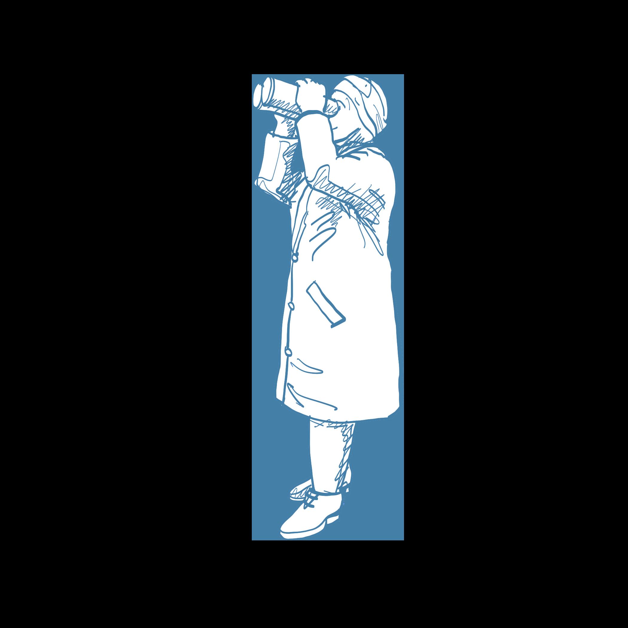 Illustration Frau mit Fernglas